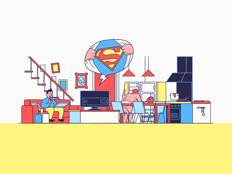 Downstairs fridge room home lazy superman pizza living kitchen