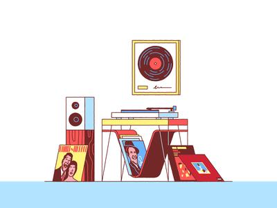 Record Collection room album record-player speaker vinyl jazz music records