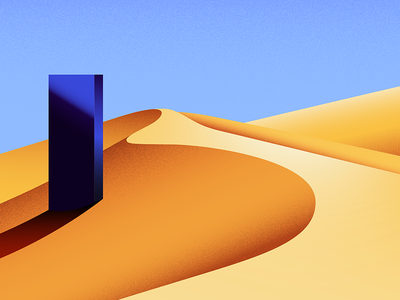 Monolith light shadow alien sky dunes desert monolith