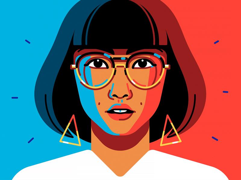 Asian Girl student glasses portrait girl
