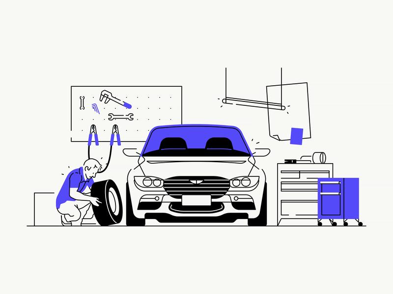 Car Garage sedan tools tire mechanic garage car