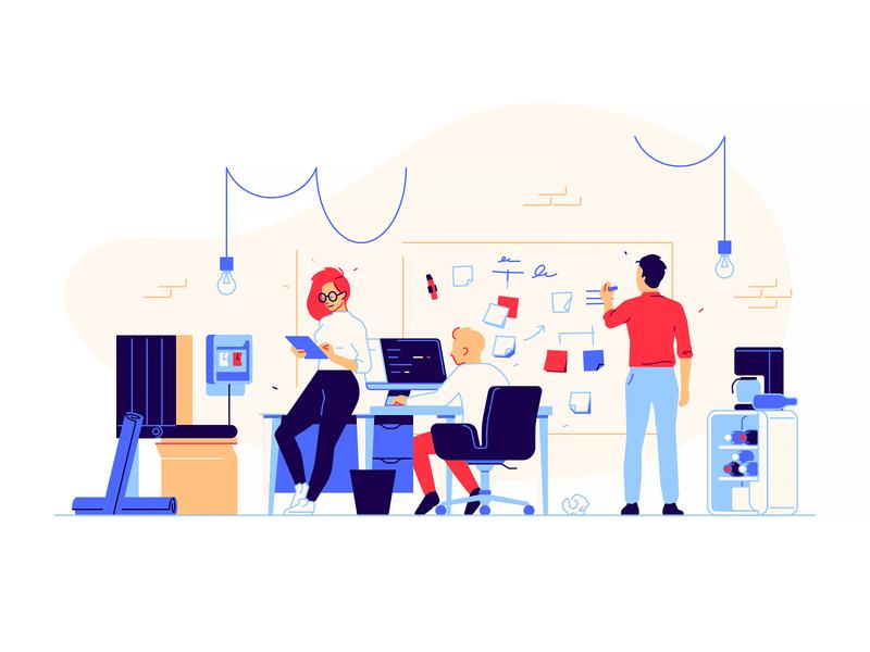 Startup work office desk branding garage startup company