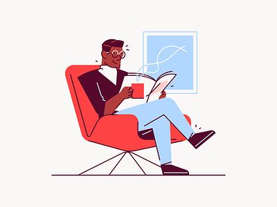 Coffee Break illustration newspaper chair lounge coffee office