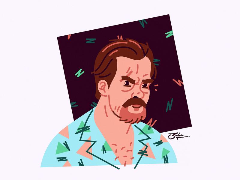 Hopper illustration portrait fanart netflix tv show stranger things