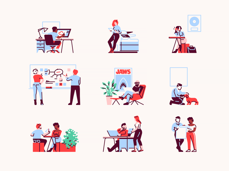 Tiny Illustrations work lunch mindmap printer studio design wiki app office