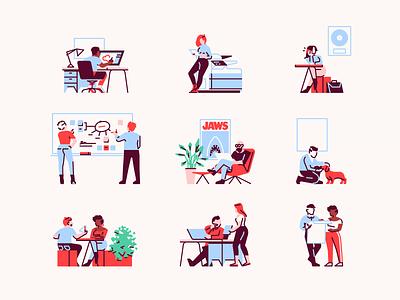 Tiny Illustrations work lunch mindmap printer studio design wiki app office