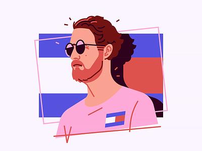 Justin man sunglasses fashion tommy portrait illustration