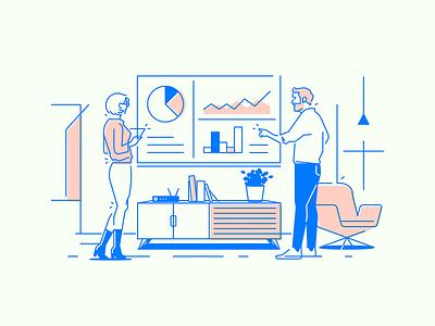 Office App #4 illustration startup lounge meeting office app work