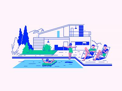 Forbes #1 living pension vacation villa house illustration