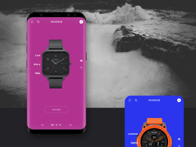 NIXON web site / Concept / Watches minimal white black shopping usa watches steel app mobile fashion project shop ux ui concept grid