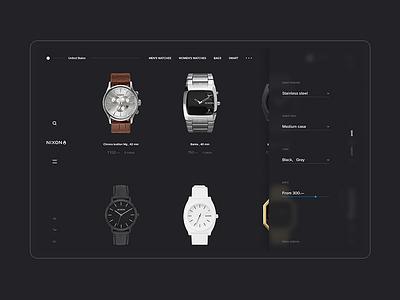 NIXON web site / Concept / Catalog dark white black minimal watches steel app mobile fashion project shop ux ui concept grid