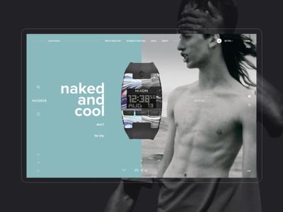 NIXON web site / Concept / Home grey white black minimal device watches steel app mobile fashion project shop ux ui concept grid