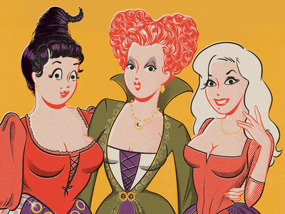 The Sanderson Sisters sanderson sisters mid century vintage retro pinup pin up illustration characters witches hocus pocus disney halloween