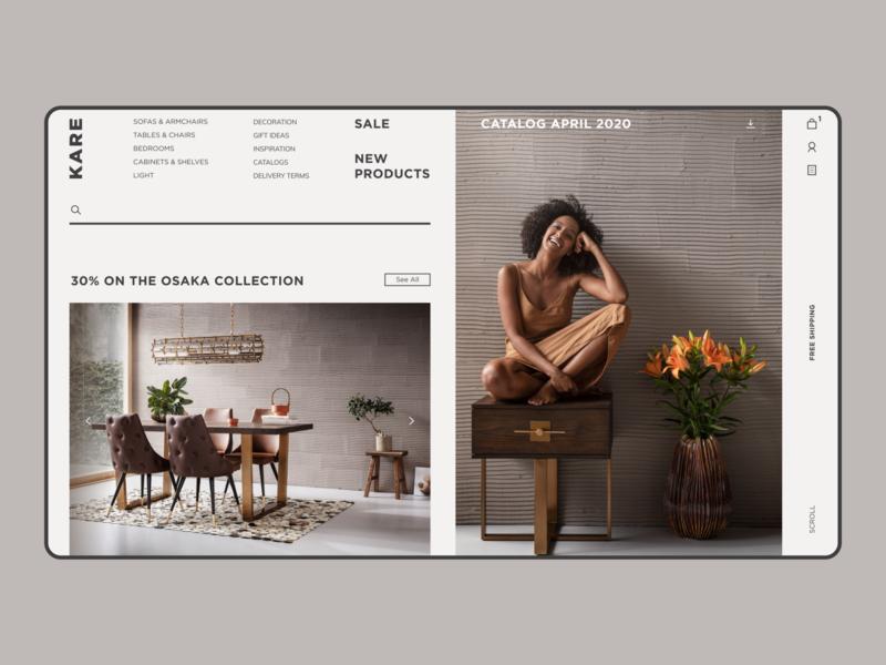 KARE WEBSITE trends 2020 minimalism furniture store shop eshop clean store website homepage e-commerce minimal concept interface design ui ux
