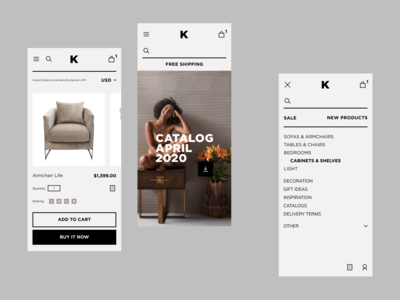 Kare Mobile Store responsive design art direction trends furniture app mobilestore shop store ios mobile e-commerce minimal concept interface design ui ux