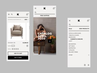 Kare Mobile Store responsive design art direction trends furniture app mobilestore shop store ios mobile e-commerce minimal concept interface design ui ux