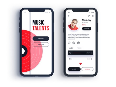Music Talents - User Profile user profile interface red music dailyui app mobile design ui ux