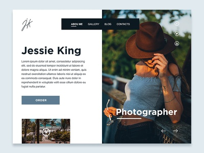 Photographer Blog concept brown blue home page social landing webdesign design interface concept blog