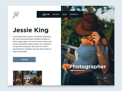 Photographer Blog concept brown blue home page social landing webdesign design interface concept blog
