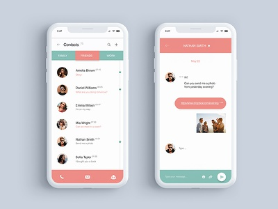 Daily UI #013 - Direct Messaging 013 chat social mobile contacts messaging direct dribbble dailyui