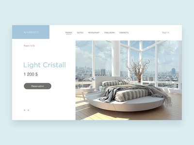 Marriott  - concept page of hotel room light minimal page ui ux reservation blue concept hotel