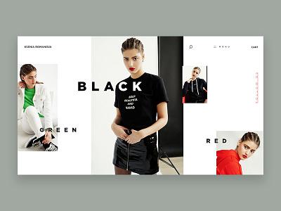 Ksenia Romanova Home Page homepage ui ux e-commerce e-shop store fashion website