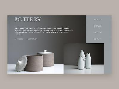 Pottery e-commerce store brown gray blue website pottery e-shop e-commerce ux ui homepage