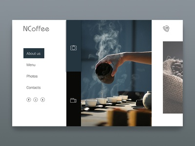 Homepage Ncoffee Dribbble dribbble color brown blue concept coffee ui ux interface homepage