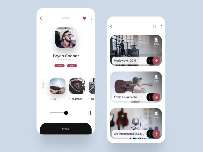 Music Talents Mobile App digital music app app design homepage product design ios mobile minimal dailyui blue dribbble design interface concept ux ui