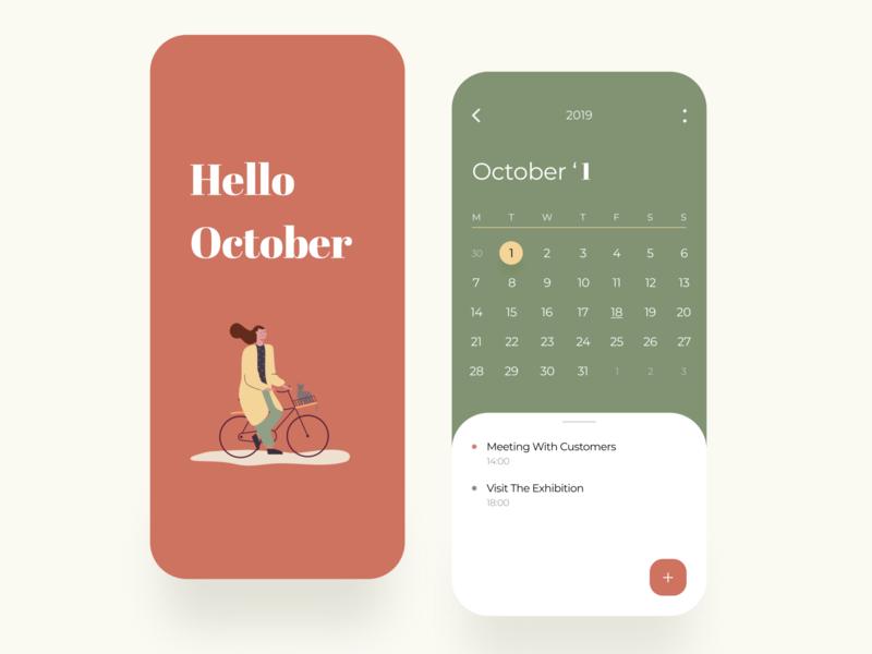 Calendar Mobile App color figmadesign ios mobile minimal dailyui dribbble design interface concept ux ui