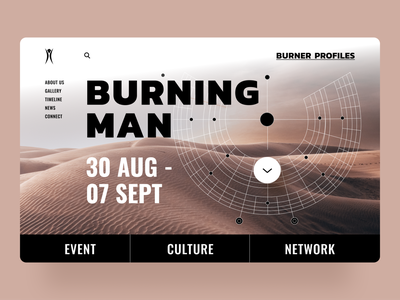 Burning Man Home Page clean trenddesign trends 2020 trends typography fonts website concept weddesign website web homepage minimal dailyui dribbble design interface concept ux ui
