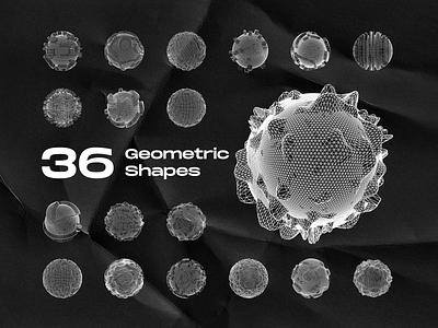 36 Geometric Shapes minimal poster vector geo