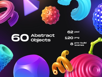 60 Abstract Objects shapes e-commerce geometic minimal modern element landingpage object abstract 3d