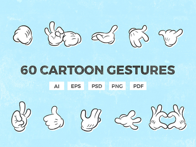 60 Cartoon Gestures retro style charactersfinger charactercartoon gloveretro upwhite gesturethumbs glovecartoon cartoon