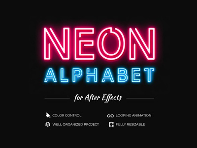 Free Neon Alphabet for After Effects