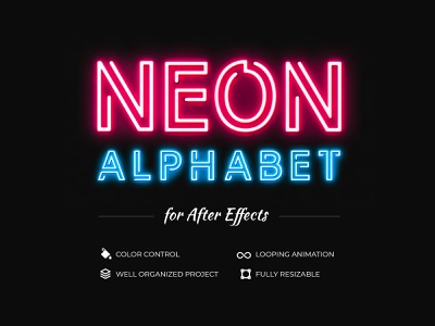 Free Neon Alphabet for After Effects freebie neon light neon after effect source free