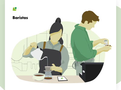 Meeting the Cropster Personas: Baristas cafe vector illustrator illustration personas coffee brand