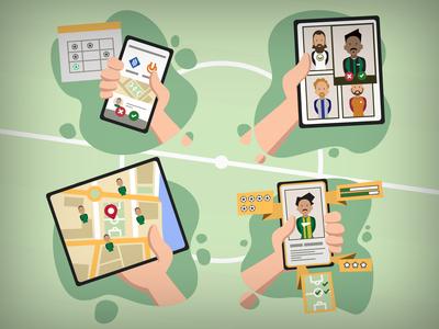 Football (Soccer) Webapp Service Illustration