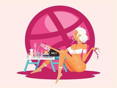 Solo Girl table coffee love boobs character pornhub girl milk vector ui illustration debut