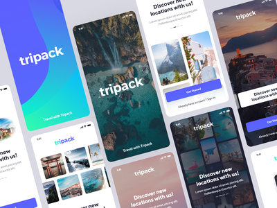 Tripack Travel Booking UI Kit ux inspirational inspiration ui designs ui ui design booking system booking app map trips travel agency travel blog travelling traveling trip travel app ui kit uidesign booking travel