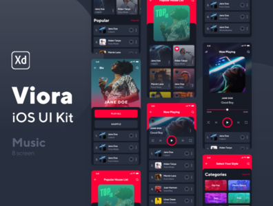 Viora iOS UI Kit Music Screens