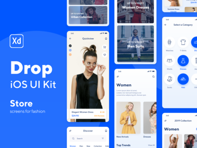 Drop iOS UI Kit Store Screens