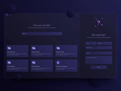Help Center | Dark Purple frequently asked questions faqs faq issues issue hero support page support help center help website web ux ui payment minimal interface inspiration design clean
