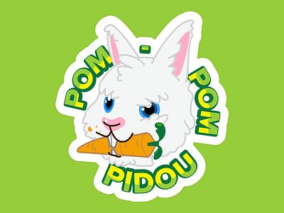 Sticker Pompidou bunny logo bunnies bunny rabbits rabbit logo rabbit cartoon design character vecto vexel vector illustration