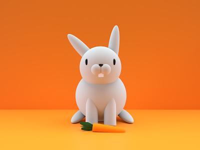 Bunny 3D lapin bunny easter bunny carrot 3d art 3d blender rabbit render scene holiday model illustration egg minimalistic character hero
