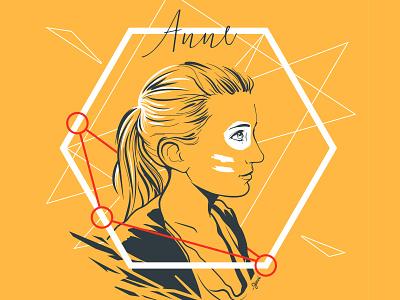 Portrait d'Anne yellow side construction vexel vector geometric anne portrait