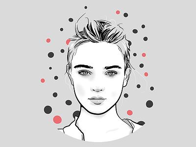Bubbles vexel hair grey face portrait drunk vectorial vecto woman girl
