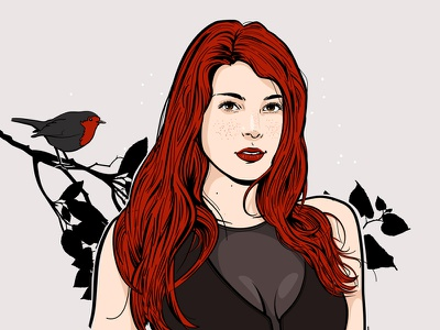 Confusion beautiful redhead natural bird vector girl portrait