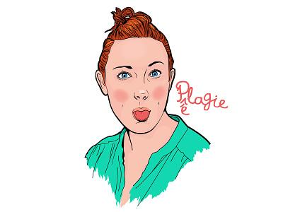 Pelagie  tongue redhead woman girl portrait illustration