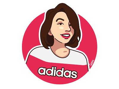Adidas girl portrait wear street art line illustration portrait woman girl